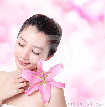 Skincare young woman smile and close eye relax