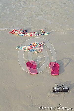 Free Skinny Dipping Bikini On Beach Stock Image - 24499881