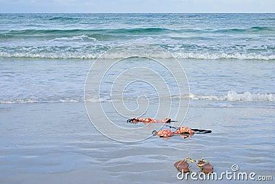 Skinny Dipping Orange Bikini on Beach
