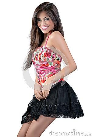 Skinny girl in a short skirt