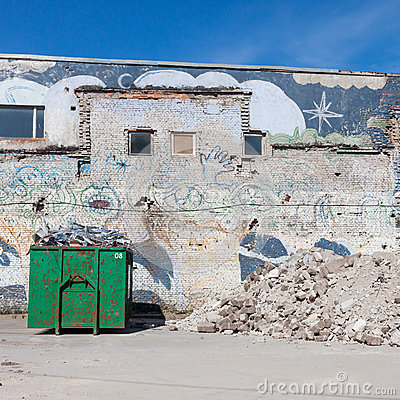 A skip full of rubble on construction site