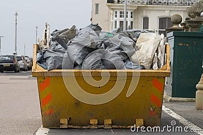 Skip with refuse/trash sacks