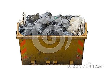 Skip with refuse/trash sacks isolated