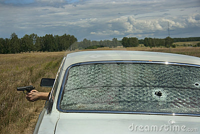 Skirmish, chase and shooting on car Editorial Photography