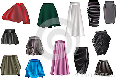 Skirt collection isolated on white