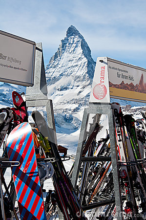 Skis at resort with Matterhorn background Editorial Image