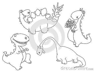 Skisserade dinosaurs