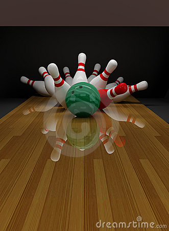 Skittles cassés dans le bowling