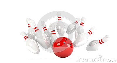 Skittles with red bowling ball