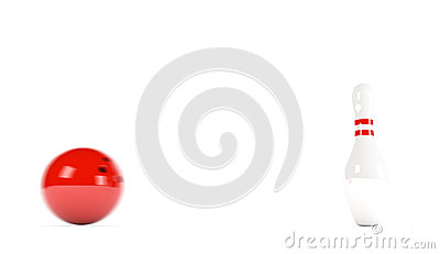 Skittles with red bowling ball - motion blur