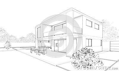 Skizze des modernen hauses landhaus terrasse und garten for Modernes haus skizze