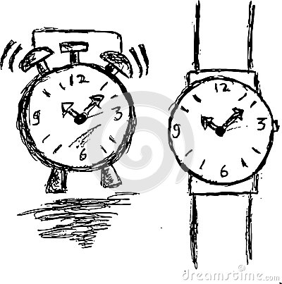 Armbanduhr skizze  Skizze, Uhr Und Armbanduhr Des Handabgehobenen Betrages Vektor ...
