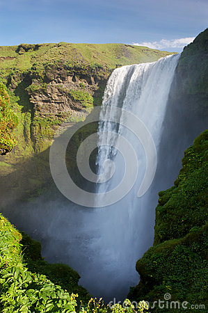 Skogafoss waterfal from above, South Iceland