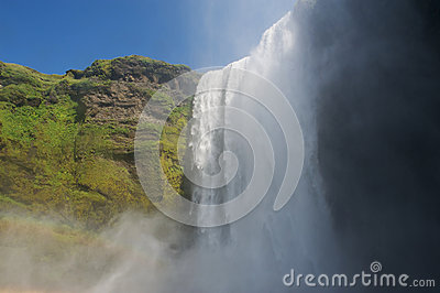 Skogafoss waterfall from below, South Iceland