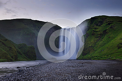 Skogafoss waterfall captured with long exposure at the sunset, S
