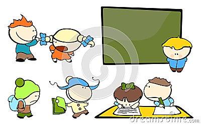 Skola för 4 rolig ungar