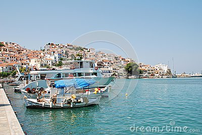 Skopelos harbour, Greece Editorial Stock Photo