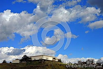 Skopje museum blue sky
