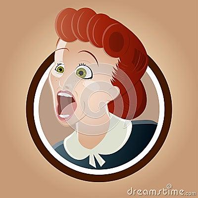 Skrikig retro kvinna