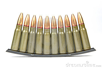 SKS Assault Rifle Bullets on Clip Strip