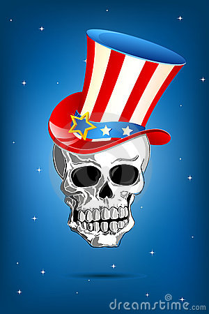 Skull with American Hat