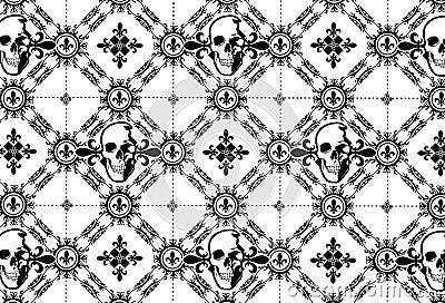 Skull Argyle Pattern with Fleur De Lys