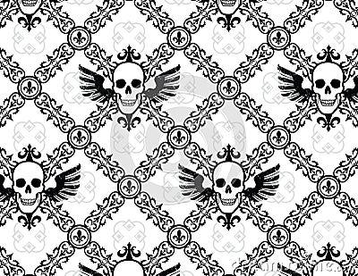 Skull Argyle Wing Pattern with Fleur De Lys