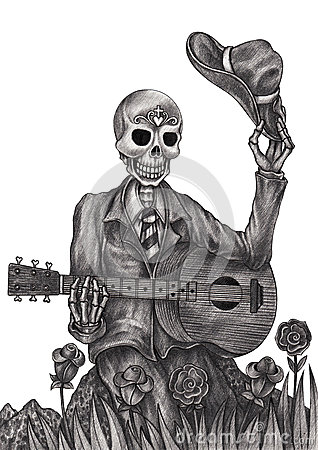 skull art playing guitar day of the dead stock