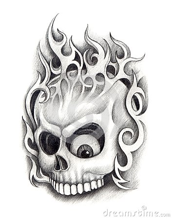 skull art tattoo stock illustration image 55355135. Black Bedroom Furniture Sets. Home Design Ideas