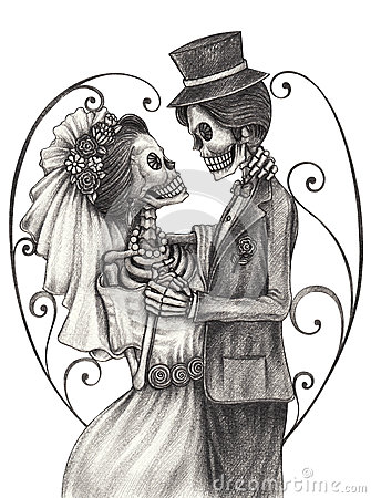 Free Skull Art Wedding Day Of The Dead. Royalty Free Stock Image - 54179296