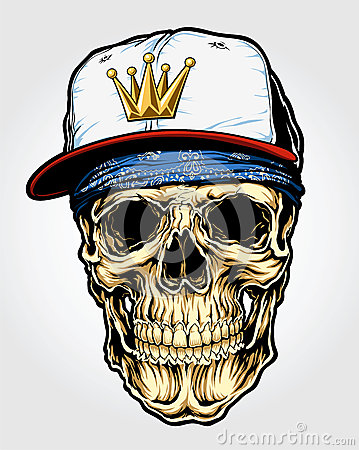 Skull with Bandanna and Cap