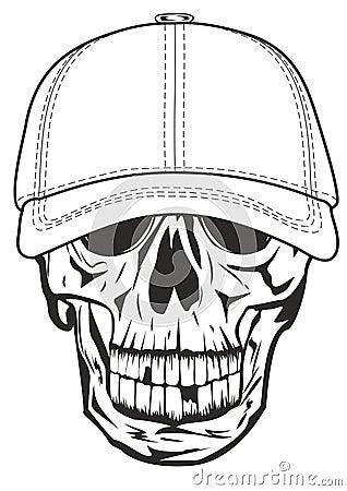 Skull in baseball cap