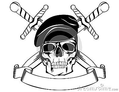Skull in beret 2