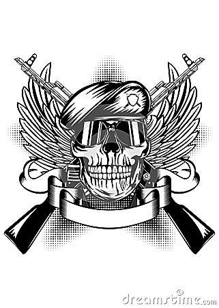 Skull in beret and two Kalashnikov guns