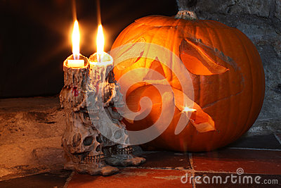 Skull Candlesticks & Pumpkin Lantern