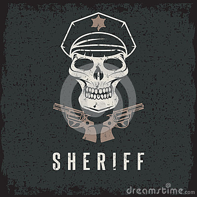 skull in cap and guns grunge vector design template Vector Illustration