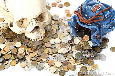 skull and  coin