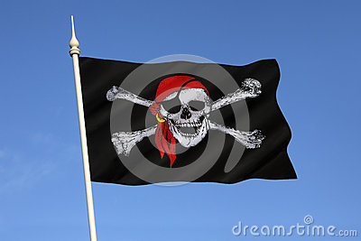 Skull and Crossbones Flag - Jolly Roger Editorial Photography