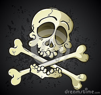 Skull and Crossbones Jolly Roger Cartoon Character