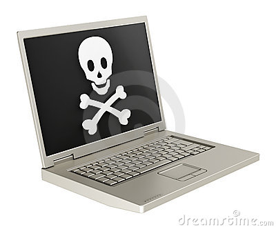 Skull And Crossbones On The Laptop Screen. Stock Photo - Image: 19168540