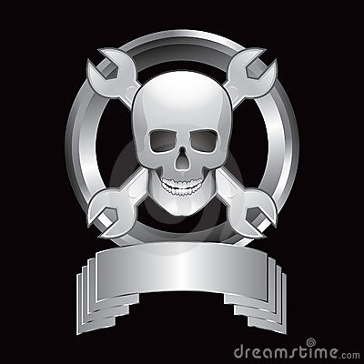 Skull and crossed wrenches in silver display