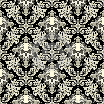 Skull Damask Stock Vector Image 57428922