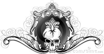 Skull in decorative frame