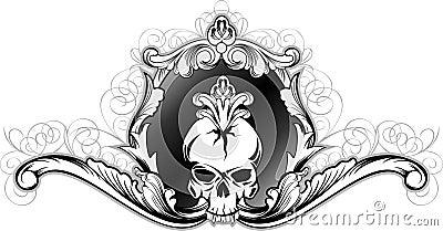 Skull in decorative frame