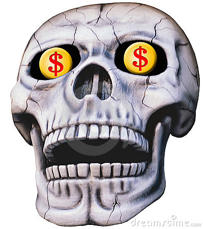 Skull with Dollar Signs