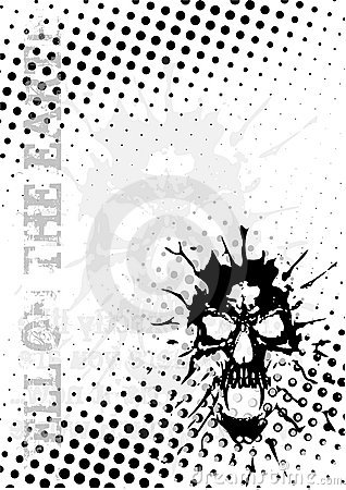 Skull dots poster background