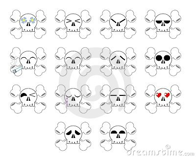 set of Nice Skull expression isolated