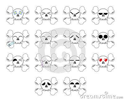 set of Nice Skull expression isolated