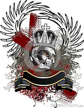 Skull grunge emblem