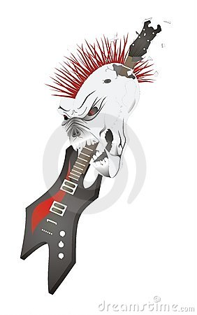 Skull with guitar.